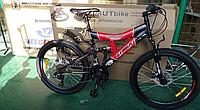 Спортивный Подростковый велосипед Azimut Tornado 24 дюйма,дисковые тормоза черно-красный