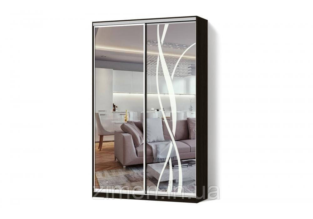 Шкаф-купе Зеркало/Зеркало с рисунком пескоструй двухдверный Стандарт