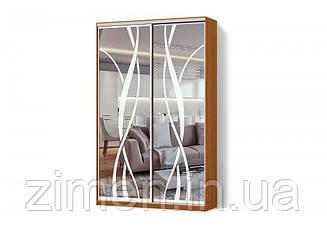 Шкаф-купе Зеркало с рисунком пескоструй двухдверный Стандарт