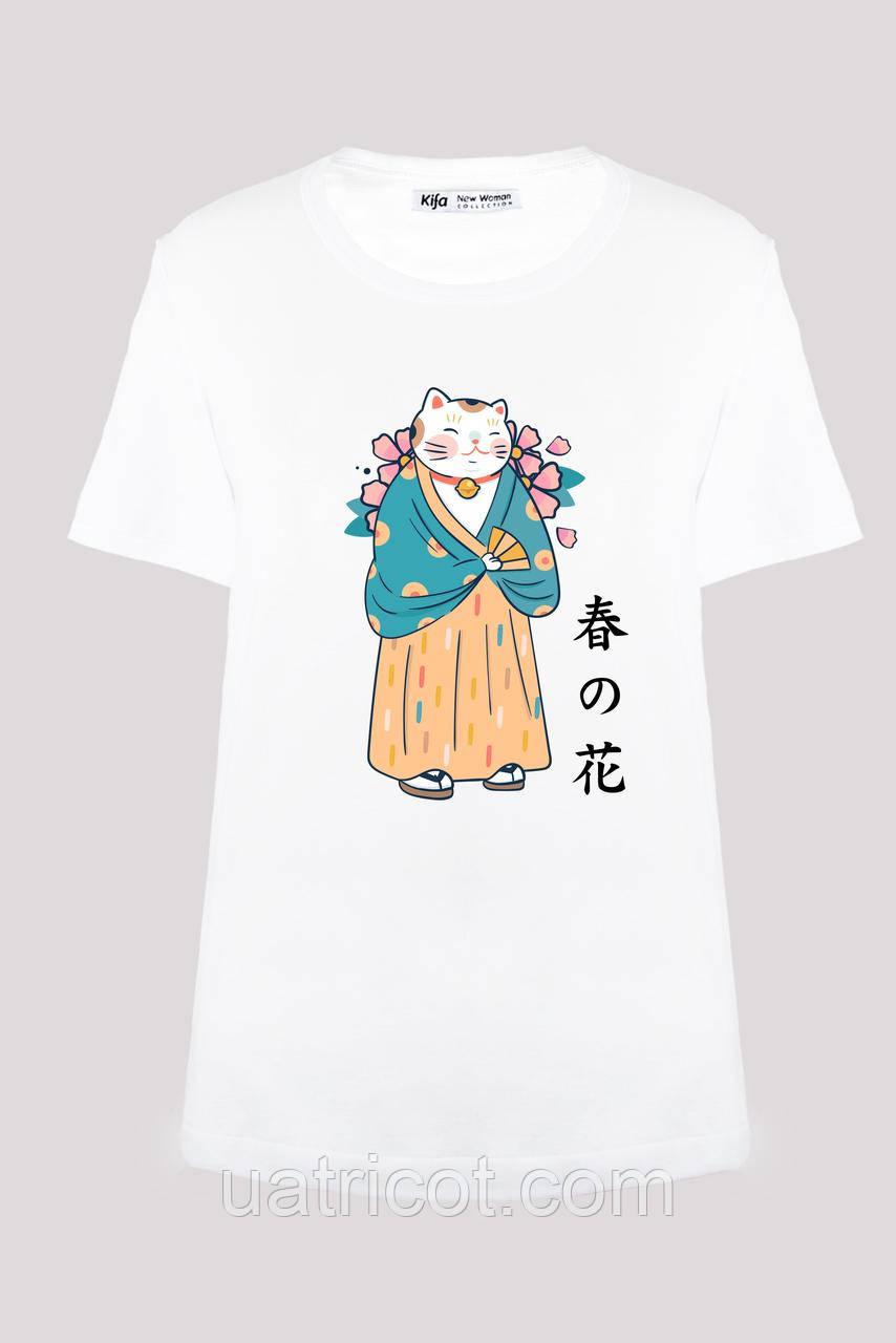 Футболка женская KIFA ФЖ-017/30 Hananeko fan белая
