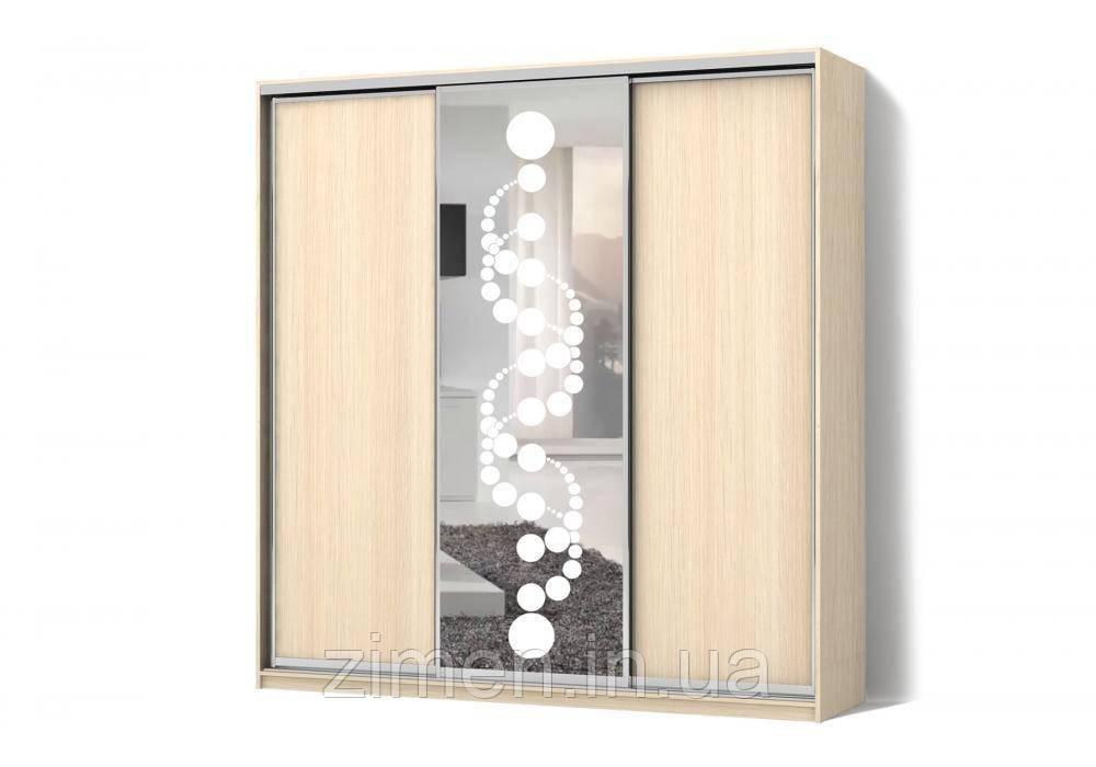 Шкаф-купе ДСП/Зеркало с рисунком пескоструй на 1 двери трехдверный Классик