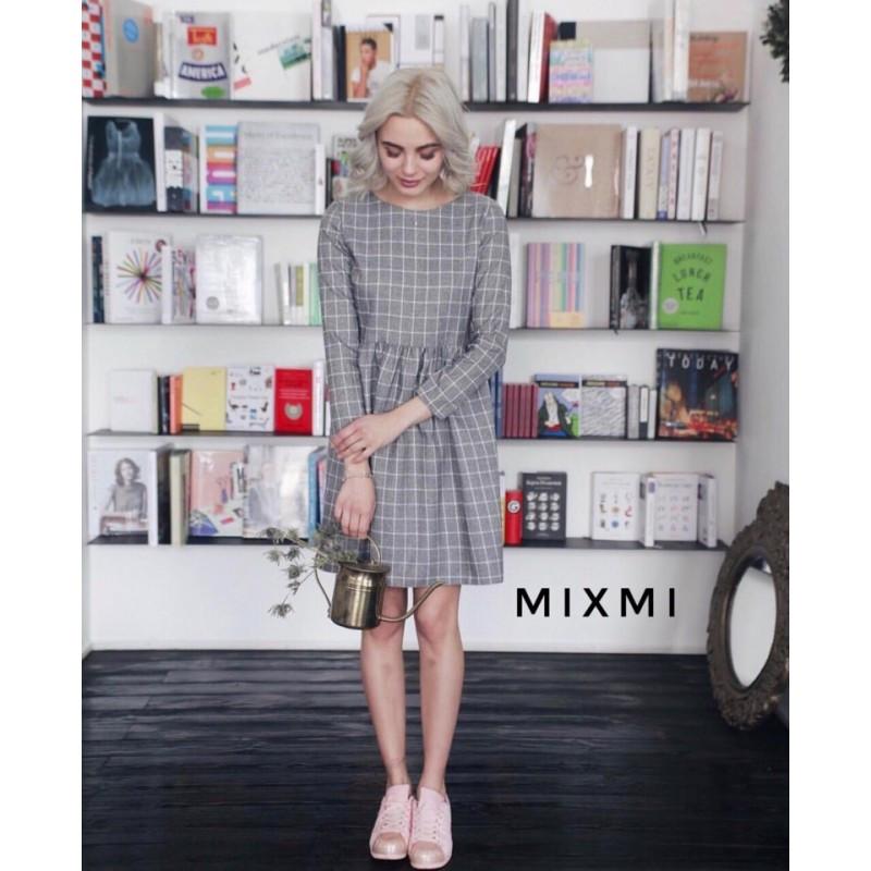Платье клетка лен короткое мод.096