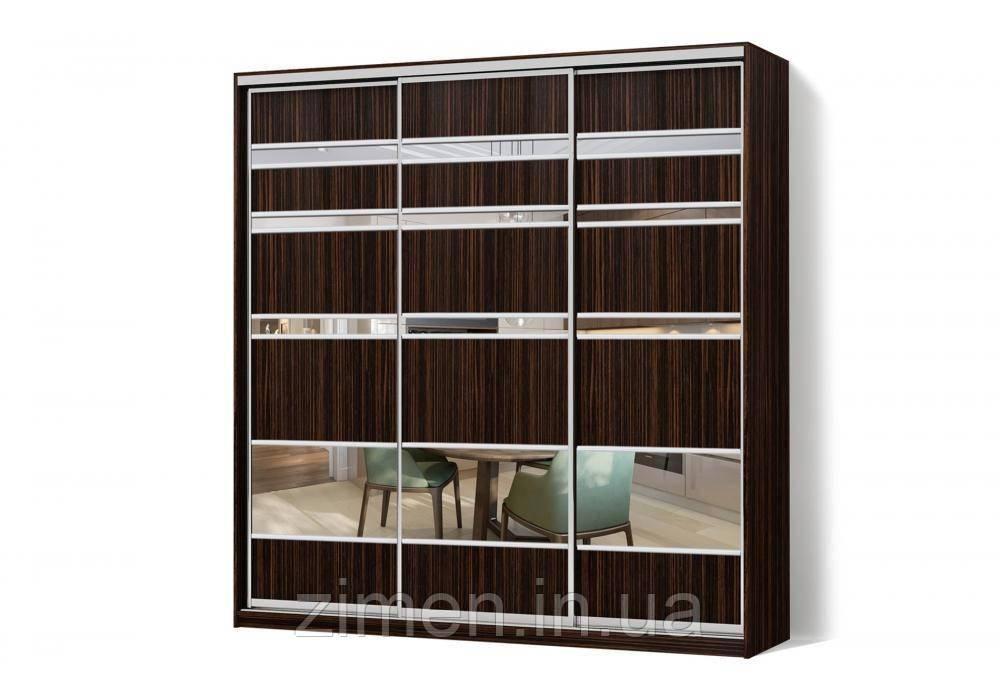 Шкаф-купе с комбинированными фасадами ДСП+Зеркало трехдверный Классик