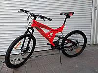 Спортивный подростковый велосипед Azimut SHOCK 26 дюйма,дисковые тормоза черно-красный, фото 1