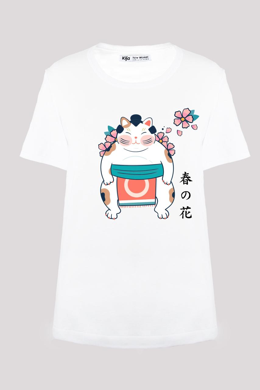 Футболка женская KIFA ФЖ-017/30 Hananeko sumo белая