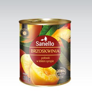 Консервированный персик (половинки) в сахарном сиропе Sanello 820г. Чехия