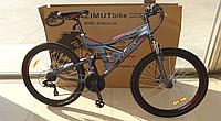 Спортивный подростковый велосипед Azimut SHOCK 26 дюйма,дисковые тормоза серо-красный