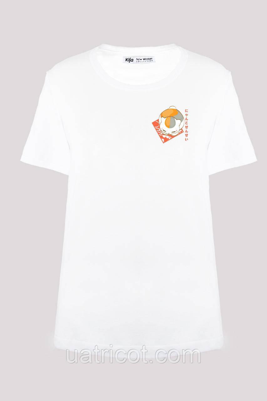 Футболка женская KIFA ФЖ-017/30 Nyanko-sensei белая