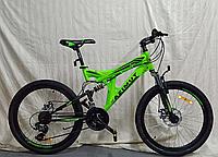 Спортивный подростковый велосипед Azimut Power 26 дюйма,дисковые тормоза салатовый