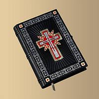 Библия крест с камнями сваровски - элитная кожаная подарочная книга