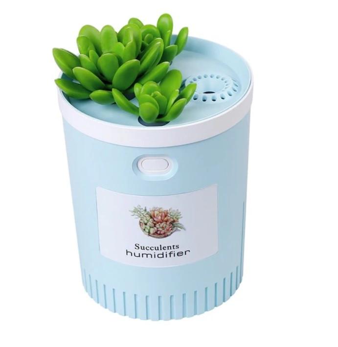 Портативний зволожувач повітря SUNROZ Succulents Humidifier в формі вазона USB LED 350 мл Блакитний (SUN4065)