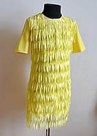 Нарядное детское платье для девочек 6-10 лет лимонного цвета, фото 1