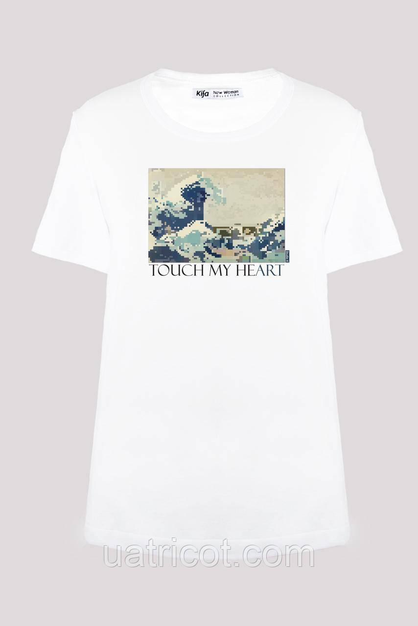 Футболка женская KIFA ФЖ-017/30 TOUCH MY HEART Hokusai белая