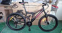 Спортивный подростковый велосипед Azimut Blackmount 26 дюйма,дисковые тормоза черно-красный