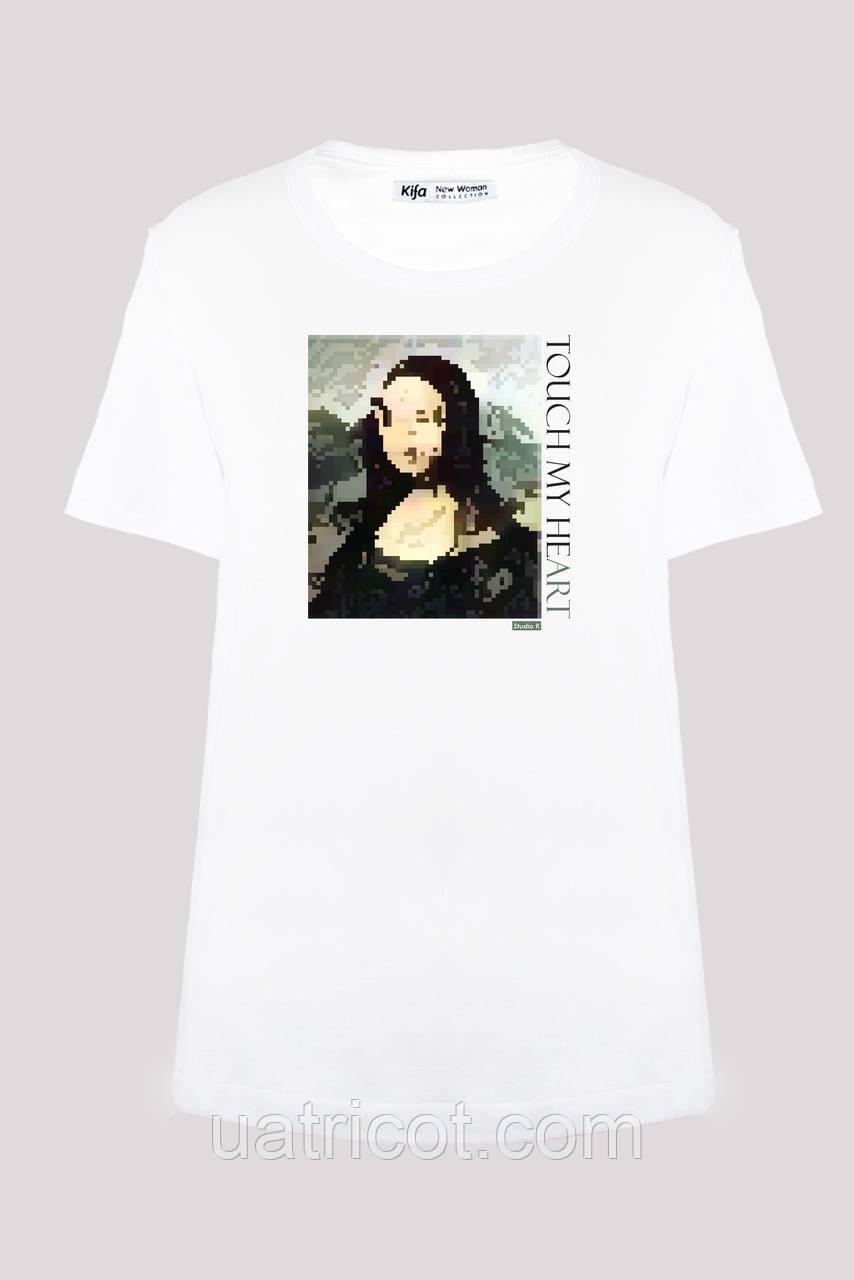 Футболка женская KIFA ФЖ-017/30 TOUCH MY HEART Da Vinci белая
