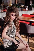 Брендовое мини-платье леопард