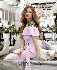 Платье женское макси софт+сетка вышивка Сирень