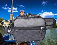 Сумка  спиннингиста поясная + плечо, усиленная, непромокаемая для рыбалки