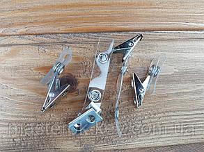 Клипса для бейджа металлическая с прозрачным ремешком М-1143 85*12мм цвет никель
