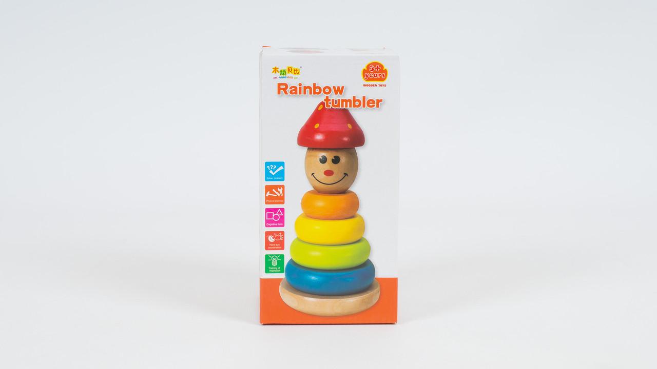 Деревянная игрушка - пирамидка. Собирается из 4 колец