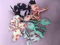 Резинки для волос детские с ушками разных цветов  с губками