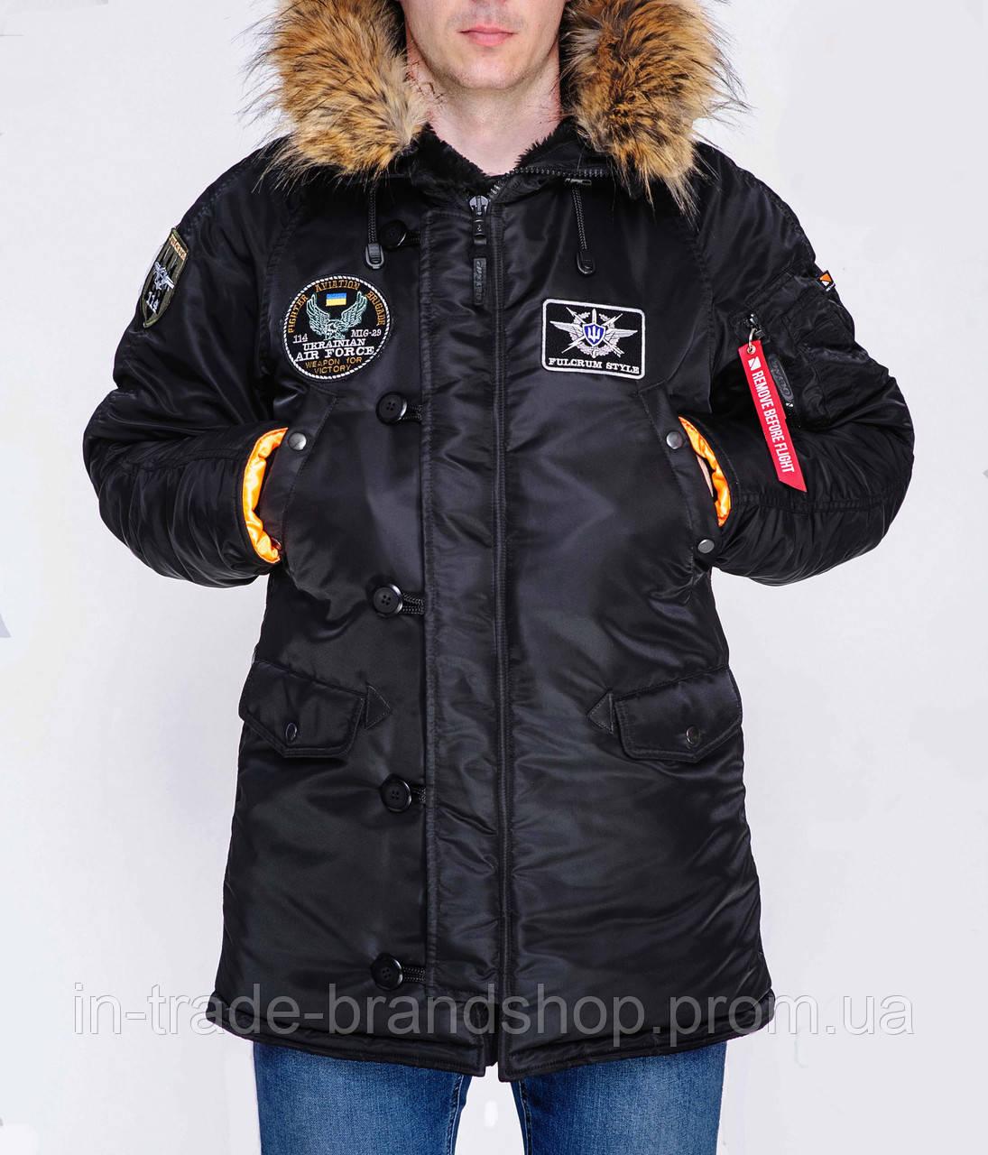 Парка Olymp с нашивками — Аляска N-3B, Slim Fit, Color: Black 100% Нейлон