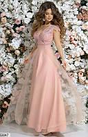 Нарядное платье длинное пышное с открытым декольте прозрачная спина гипюр розового цвета