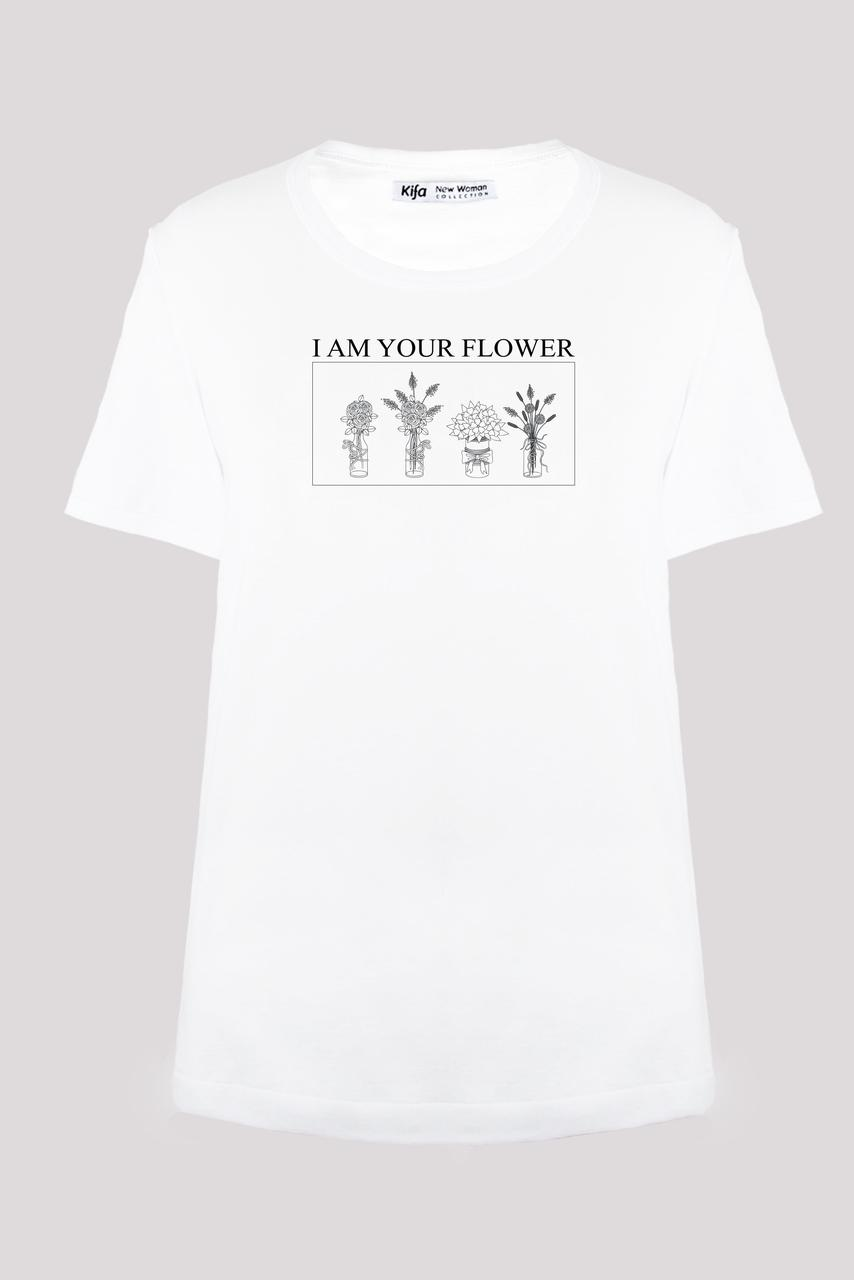 Футболка женская KIFA ФЖ-017/30 I AM YOUR FLOWER белая