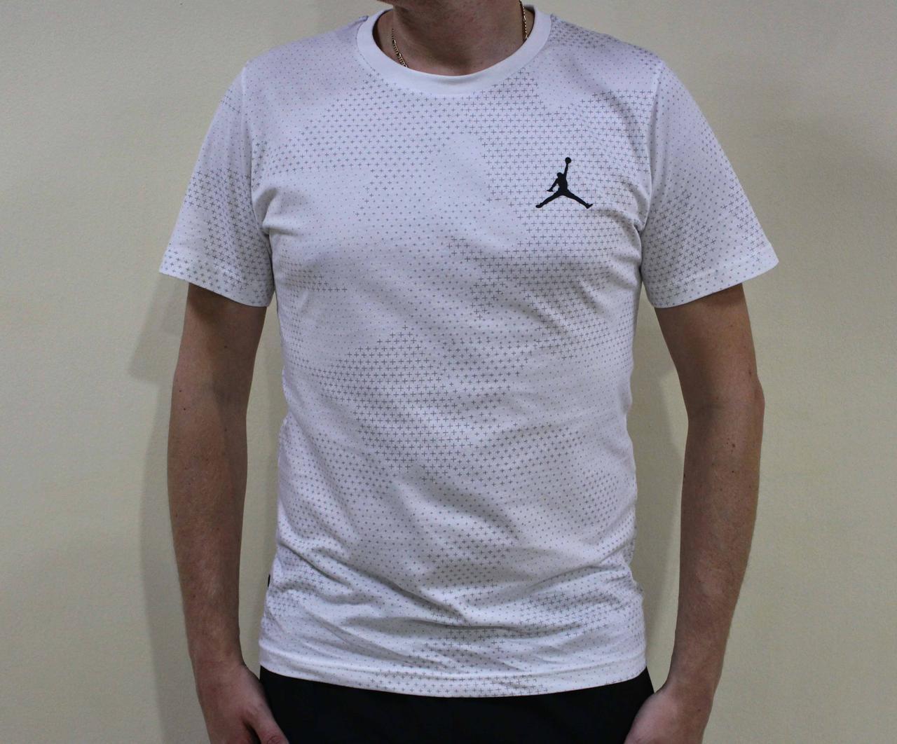 Белая спортивная мужская футболка Jordan (Реплика)
