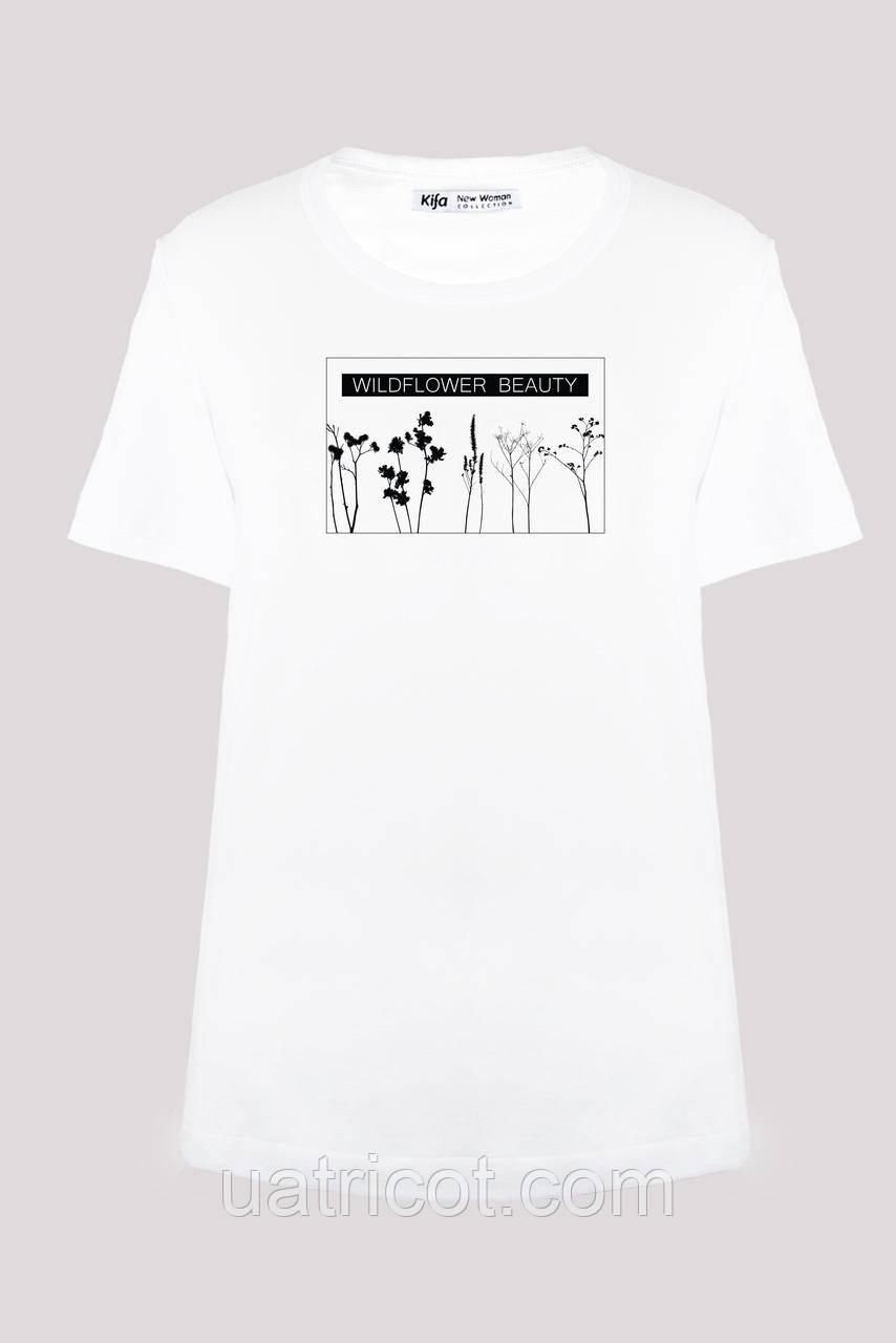 Футболка женская KIFA ФЖ-017/30 WILDFLOWER BEAUTI белая