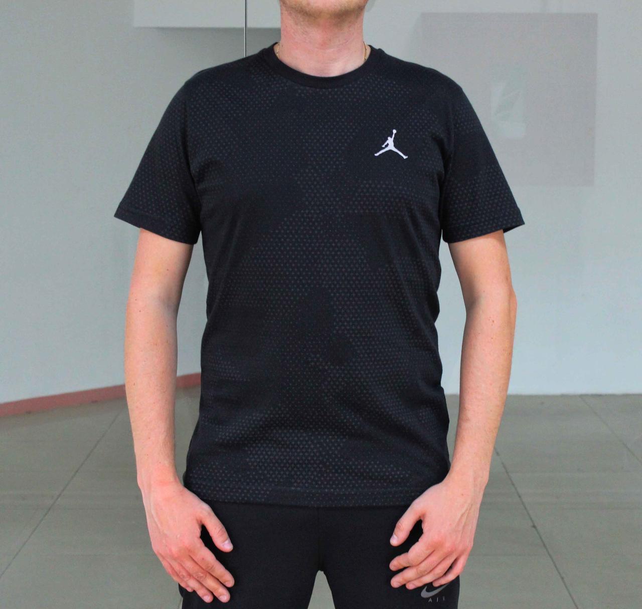 Стильная черная мужская футболка Jordan (Реплика)