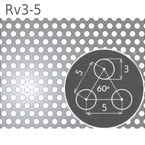 Перфорированный нержавеющий лист Rv3-5/1.0/1000х2000