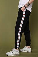Спортивные штаны мужские черные стильные модные с полоской  Ellesse