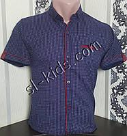 Стильна сорочка(шведка) для хлопчика 12-16 років (опт) (темно синя) (пр. Туреччина)