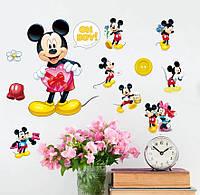 "Наклейка в детскую, ""Наклейки Микки Маус с подарком "", 20х30см., фото 1"