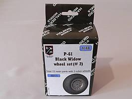 Резиновые колеса с дисками для сборной модели самолета P-61 Black Widow. 1/48 HALBERD MODELS 4811