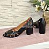Кожаные черные женские босоножки на невысоком устойчивом каблуке, фото 2