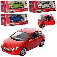 Машинка Kinsmart Peugeot 307 XSI металева, інерційна, 4 кольори, в коробці, 16-8-7 см
