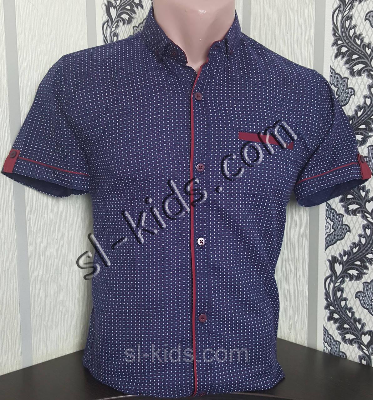 Стильная рубашка(шведка) для мальчика 6-11 лет(розн) (темно синяя) (пр. Турция)
