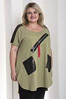 Красивая туника Челси очень больших размеров 62-64, 66-68, 70-72. Женская одежда больших размеров. Хаки