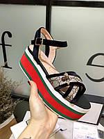 Сандалии Gucci на платформе с перекрещивающимися ремешками, фото 1
