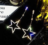Серьги женские позолоченные со стразами Magic Stars