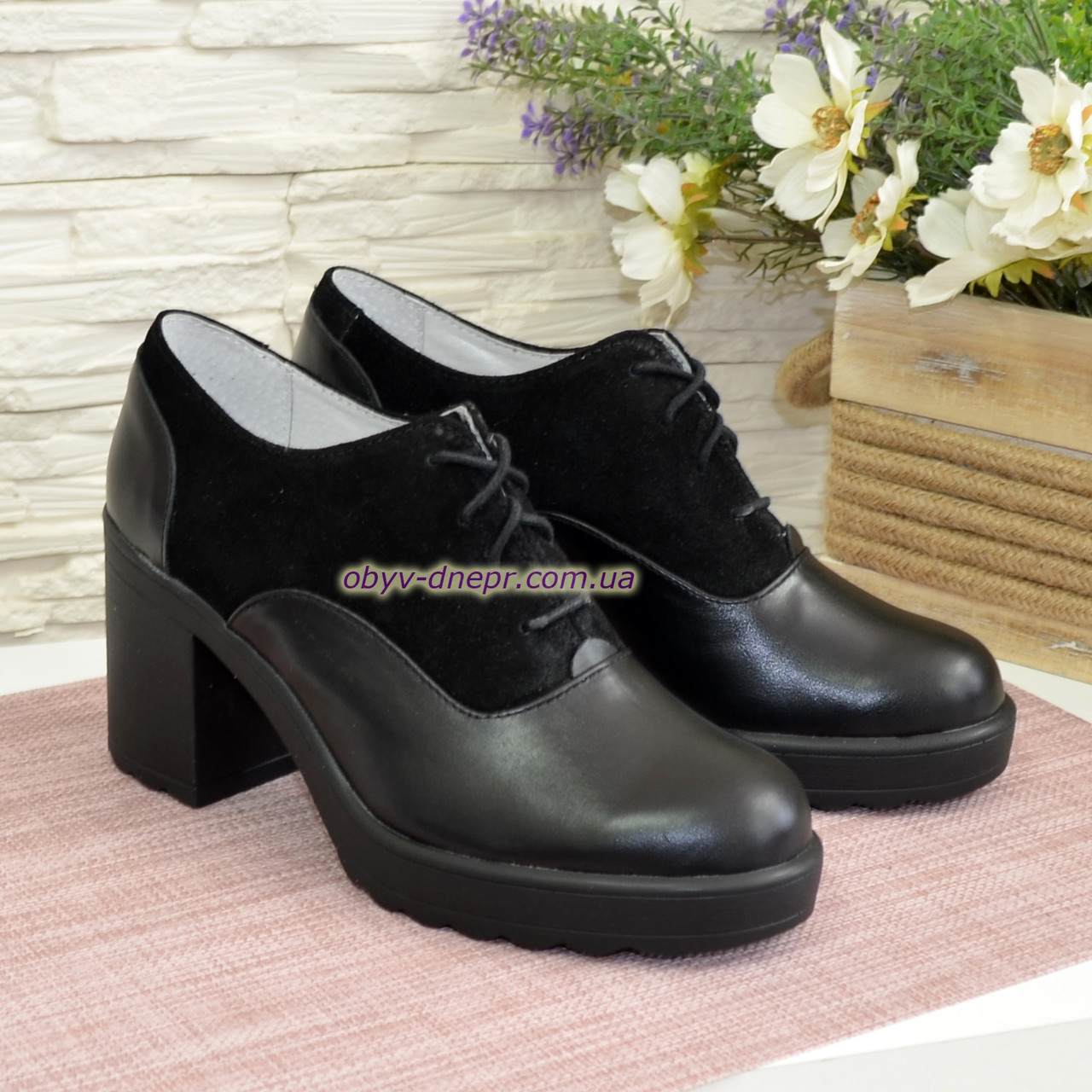 Туфли женские на широком устойчивом каблуке, натуральная кожа и замша