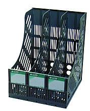 Лоток для документів 4Office, 4-402, 3 відділення, вертикальний, чорний