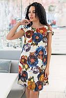 Яркое  платье мини  с V-образным вырезом  на спинке в цветочный принт  рукав спадающая резиночка  (44-52)