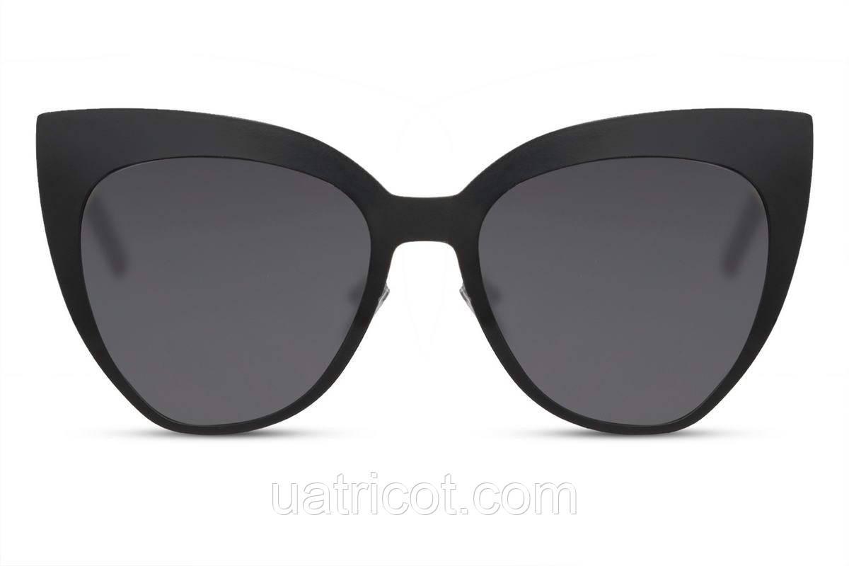 Женские солнцезащитные очки cat eye в черной металлической оправе