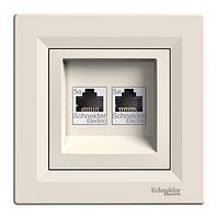 Розетка компьютерная двойная кремовая Schneider electric Asfora EPH4400123