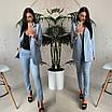 Женский брючный костюм с удлиненным пиджаком и зауженными брюками , фото 3
