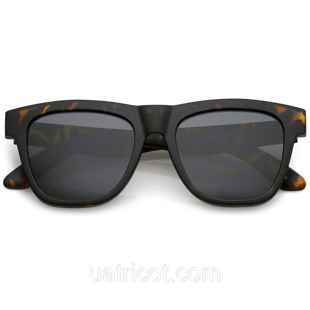 Мужские классические квадратные солнцезащитные очки в коричневой матовой оправе