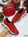 Женские кроссовки слипоны из натуральной кожи красные, белые, черные, фото 2